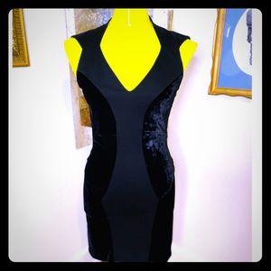 HELMUT LANG two tone Black Mini Dress, MINT.